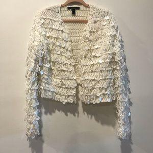 White sequins shag glitzy chunky cardigan